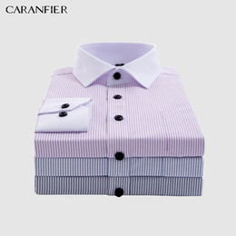 camicie formali bianche da uomo Sconti New Mens White Collar Camicie a righe Men's Dress Shirts for Business / Office Wear Uomo Formale Social Shirt Easy Care