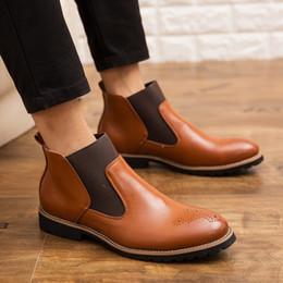 outillage en cuir Promotion MUQGEW Chaussures à enfiler en cuir pour hommes classiques Bottes britanniques High-top Tooling Hommes Chaussures couleurs mélangées Botte respirante