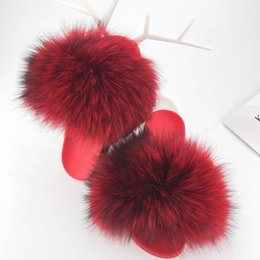 Большие тапочки онлайн- Fur Slides Big Size 2018 Open Toe Fluffy Real Hair Low Platform Slippers Slip On Flip Flops Furry Women F Shoes