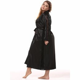 Argentina Tallas grandes de seda para mujer Satén Maxi Robe Encaje Dobladillo Albornoz Manga larga Kimono Noche Bata de baño Moda Bata de vestir cheap maxi dress sleeves silk Suministro