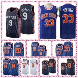 2019 new york basketball Knicks RJ Barrett Maillots de Basket 33 Patrick Ewing 14 Allonzo 20 Kevin Knox Knicks Trèves New Jersey Jersey Cousu livraison gratuite new york basketball pas cher