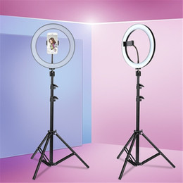 Trípode led online-Tycipy LED Selfie Ring Light 24W 5500K Fotografía de estudio Foto Relleno de luz de anillo con trípode para iPhone Smartphone Maquillaje