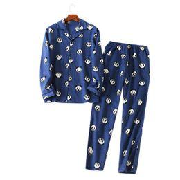 pigiami lungo panda Sconti Super popolare panda uomo pigiama set 100% cotone maniche lunghe pigiama casual homme inverno homewear usura notturna 2019 primavera nuovo
