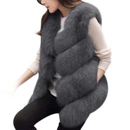 Invierno 2018 Mujeres Chaleco de Piel Gruesa Cálido Faux Fox Moda de Alta Calidad O-cuello Abrigo de Piel Corto Mujeres Chaqueta Outwear Femme 3XL desde fabricantes