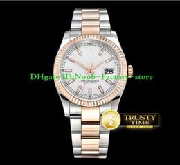 2019 толстые мужские часы Заводские продажи DJ 36mm Two Tone Розовое золото Oyst Flt RG / SS Белый Толстый Люм Толстый Люм сапфировый Люминесцентный циферблат Рамка Автоматические мужские часы дешево толстые мужские часы