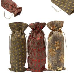 2019 bolsas rosa favor Decoración de navidad Bolsas de vino Lino Cordón a prueba de polvo Botella de vino Bolsa de empaque Elk Copo de nieve Impreso Bolsas de champán Envolturas de regalo para la fiesta