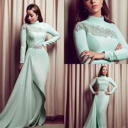 Vestidos de fiesta largo menta verde online-Verde menta vestidos de noche de la sirena 2019High cuello rebordear manga larga musulmanes vestidos de baile más el tamaño los vestidos del partido personalizada