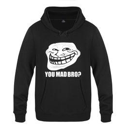Sudaderas con capucha de trolls online-Troll Face Meme - You Mad Bro Gamer Web Geek Sudaderas con capucha Hombre 2018 Pullover Hombre Sudaderas con capucha de lana