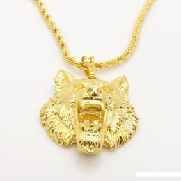 24k solid gold anhänger ketten Rabatt Vivid Wolf Design Feste 24K gelbes Gold füllte der Männer hängende Halskette mit Seil-Kette