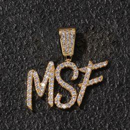 Gioielli spazzolati online-Hip Hop nome personalizzato pennello carattere lettere ciondolo collana con catena di corda 24inch oro argento Bling Zirconia uomini gioielli