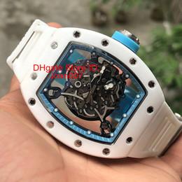 15bcda2ba2ad 2019 reloj esqueleto transparente Reloj de lujo RM055 Relojes de cerámica  blancos hombres Relojes mecánicos esqueleto