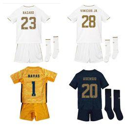 2019 Kids Kit camisetas de fútbol de Madrid PELIGRO 23 # Portero 19 20 Camisetas de Real Boy Soccer Conjunto infantil personalizado de fútbol uniformes + pantalones desde fabricantes