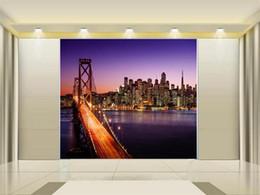 2019 città di sfondo dimensioni personalizzate 3d foto wallpaper soggiorno 3d wall mural Bridge City Nightscape 3d foto divano TV sfondo carta da parati non tessuto adesivo città di sfondo economici