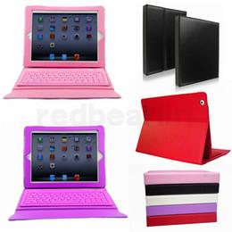apple ipad bluetooth keyboard stand Promotion 50pcs Bluetooth Etui en cuir clavier sans fil pour Ipad Pro 1 2 3 4 5 air mini 2 rétine Support de support Protecteur Doublé