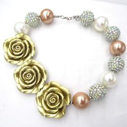 Meninas bonitos Flor de Ouro Colares Gargantilhas Criança Chunky Strass Beads Colar Bubblegum Crianças Saia Vestir Jóias de