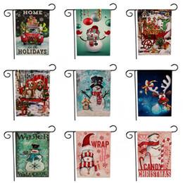 2019 colores de la bandera Santa Claus Printing Banners Creative Christmas Theme Pattern Banderas de jardín Dos lados Patrones de muñeco de nieve Multi Colors Flag TTA1707 colores de la bandera baratos