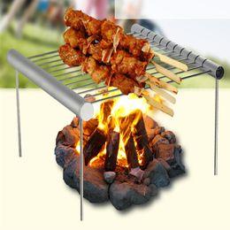 Pieghevole in acciaio inox BBQ Grill Rack Camping portatile Mini BBQ Grill Cremagliera Accessori barbecue per uso domestico e all'aperto da