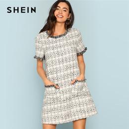 0999834750 SHEIN Grey Plaid Frayed Edge Button Detail Tweed Dress Elegant Frill  Straight Short Dresses Women Autumn Workwear Mini Dress Y181227