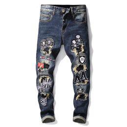 67aeaa7d52f8 badge jeans 2019 - Tops Mens patchwork Skull Badge Skinny Jeans Fashion  Designer Slim Fit Hip