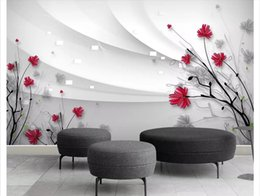 carta da parati rosa nera del fiore Sconti Carta da parati murale 3D personalizzata Mural Wallpaper Carta da parati 3D murale Bella HD fiori dipinti a mano moderno minimalista TV sfondo murale adesivo da parete