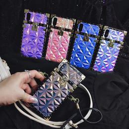 Cinghie di spalla per il iphone online-Caso di moda in pelle stampa diamante quadrato Caso di spalla cellulare fondina cambiamento di colore per iPhone XS Max XR 7 Samsung S10 Plus