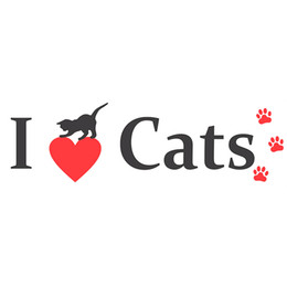 je suis pare-chocs Promotion 15 * 4.4cm I Love Cats Bumper Sticker Vinyl Decal Kitty Animaux Chat animal mignon voiture coeur Car Styling