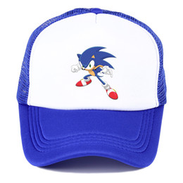sonic games Coupons - Popular game animation Sonic The Hedgehog summer nets nets hat youth fashion baseball hat spring breathable sunshade cap