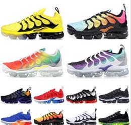 2019 цвет радуги для обуви 2019 новое поступление цвет TN Мужская обувь кроссовки TN плюс виноград Вольт гипер Фиолетовый Черный Белый гипер синий Радуга Cusion Desingers кроссовки дешево цвет радуги для обуви