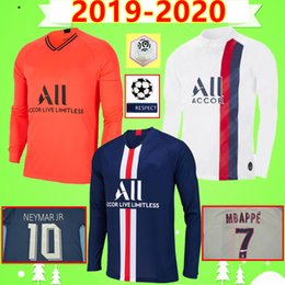 maillot de foot long Promotion psg 19 20 Paris maillots de foot MBAPPE soccer jersey long sleeve full CAVANI VERRATTI top thailand 2019 2020 football shirt SILVA Camiseta Neymar JR