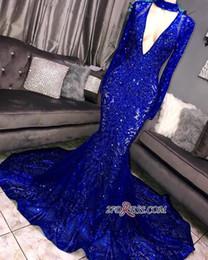 Camicia da donna sirena online-Royal Blue 2019 Splendida Bling paillettes Prom Dresses Red Mermaid maniche lunghe abito da sera donne sexy abiti da festa BC0842