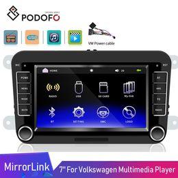 "2019 carro rádio gps wifi hyundai Podofo 2DIN Car DVD Player 7"" Video USB HD Android ISO MirrorLink Autoradio Bluetooth Para VW Golf Skoda Assento"