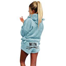 e87a1d7e418 Women Pajama mujer Sets 2 Pc Winter Flannel Embroidery Letters Cartoon Warm  Pyjamas Homewear Animal Sleepwear Cat pajama femme