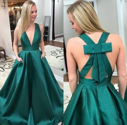 997a3044 Sexy Deep V Neck Dark Green Prom Dresses Bow Tie Backless Evening Gown  Special Occasion Dresses