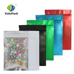 sacos ziplock vermelhos Desconto 12x18cm Matte Limpar vermelho / azul / verde / preto translúcido zip lock sacos 100pcs Plano Alumínio Plástico Ziplock pacote de saco