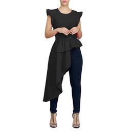 Рубашка с длинным рукавом онлайн-Женщины сексуальные без рукавов о-образным вырезом оборками подол нерегулярный высокий низкий подол длинные блузки и рубашки мода дамы пальто верх