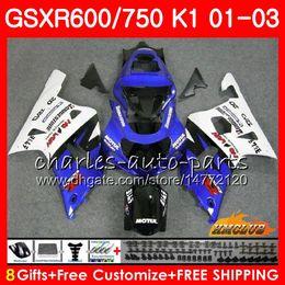 2019 gsxr k1 blau weiß 8Geschäftskörper für SUZUKI GSX-R750 GSXR 600 750 Blau weiße Oberseite GSXR600 01 02 03 4HC.14 GSXR-600 K1 GSX R750 GSXR750 2001 2003 Verkleidungsset rabatt gsxr k1 blau weiß