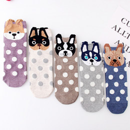 2019 bote gato bebé Lovely Dog Socks Cartoon Dog Spot calcetines para niños grandes niñas mujeres primavera otoño algodón calcetines