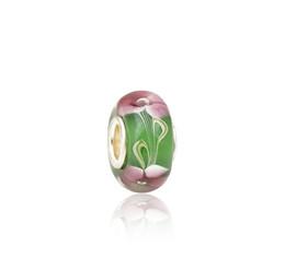 Perles de verre murano vert en Ligne-Brillant Rose Floral Vert Perles De Verre De Murano S925 Argent Charmes De Base Fit Pandora Bracelets Collier DIY Fille Bijoux Accessoires