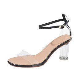 3b2ea865a241 Shoes Sandals Fashion Plastic Women Transparent Sandals Ankle High Heels  Block Party Open Toe new shoes woman 2019 ankle strap block heel sandals on  sale