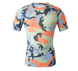 Camuflagem Apertado T-shirt Esportes Ao Ar Livre Basquete Fitness Correndo Suor De Absorção E Secagem Rápida Roupas Curtas de