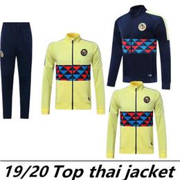 Wholesale Club de Futbol America комплект с длинным рукавом пиджака для футбола Джерси желтый синий тренировочная форма синий футбольный костюм куртка брюки