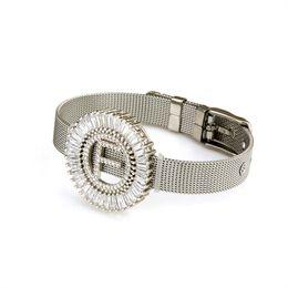 Zirconia cúbica brazalete conjuntos online-Fashion Gold Silver Color Stainless Steel Mesh Bracelet Set Cubic Zirconia A-Z Letter Charm Brand Bracelet Bangle for Woman Jewelry Gifts A