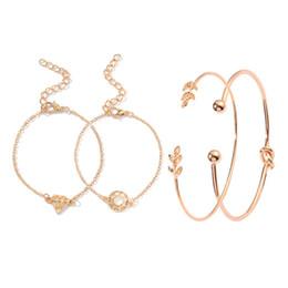 Armbänder Sets Vierteilige Set Ornamente Modische Blatt Armband Damen Großhandel Armbänder Armreifen von Fabrikanten