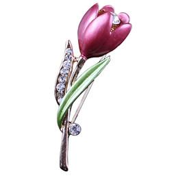 nachahmung kostüm schmuck Rabatt Elegante Tulpe Blume Brosche Strass Kristall Kostüm Schmuck Kleidung Zubehör Schmuck Broschen Für Hochzeit