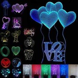 Nouveauté de lumières de coeur en Ligne-3D LED USB Veilleuse tactile 31 Styles 7 couleurs Love You Heart lampe de bureau de la Saint-Valentin LED nouveauté articles OOA6120