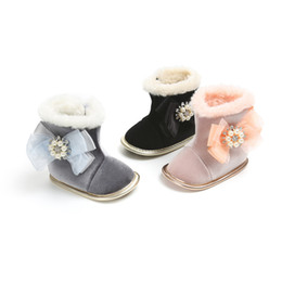Bottes en cristal de neige en Ligne-3 Couleurs enfants bottes Épaissir Fleur perle Cristal Princesse Neige Bottes Chaussures Mode Mignon Infant Toddler premier marcheur chaussures Chaussures Prewalker