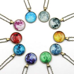 nachthimmelschmuck Rabatt Sternenhimmel Zeit Gem Anhänger Halsketten Glas Glowing Anhänger Halskette Nacht Leuchtende Aussage Schmuck für Frauen Männer 10 Farben Großhandel DHL