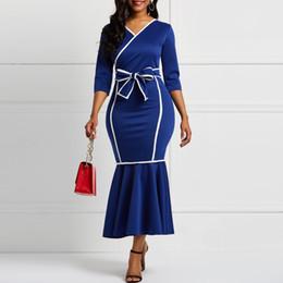 Robe femme manches longues sirène Falbala col en V Color Block Femmes robes midi Robes Bowknot Robe de soirée élégante femme J190621 ? partir de fabricateur