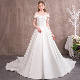 08cd9084dcc Short Sleeves Satin Beach Wedding Dresses Off Shoulder 2018 Sweep Train Bridal  Gowns High Waist Bride Dress discount short empire waist beach wedding ...