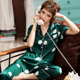 2019 xxxl pijamas M-XXXL Mulheres Pijama De Cetim De Seda Pijama Conjunto Manga Curta Pijamas Primavera Verão Pijama Terno Feminino 2 Peça Define Loungewear desconto xxxl pijamas